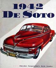 "1942 promotional art cover for the DeSoto line, which Chrysler called its ""style leader"". The 1942 model was the first use of hidden headlights in a mass produced car for the North American market."