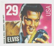 Young Elvis Presley featured on the official stamp