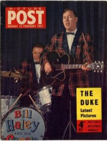 Bill Haley, with his band, the Comets, was one of the first rock and roll acts to tour the United Kingdom. This magazine cover from Picture Post of 18 February 1957 dates back to that first tour in 1957.